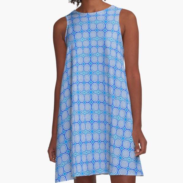 Mini Hypnosis Spirals, Light Blue Hypno-disc A-Line Dress