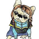 French Bulldog dressed as Anna by Liddle-Ideas