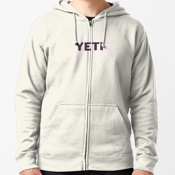 Ice Pink Yeti Sticker Zipped Hoodie
