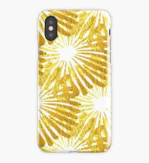 White background gold Daisies pattern iPhone Case