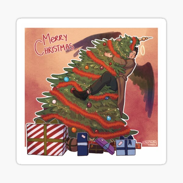 Castiel Christmas (wings rainbow) Sticker