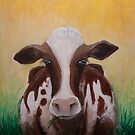 Brown Holstein Cow Original Painting by Gray Artus