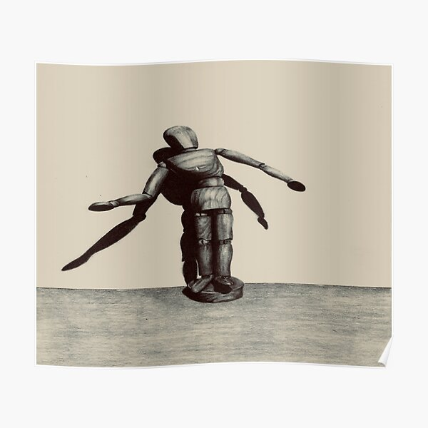 Wooden doll with light and shadow Poster