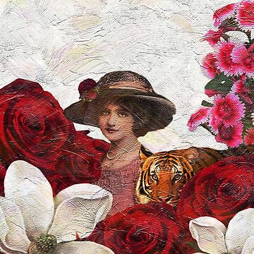 Vintage Woman Tiger Roses  by OCDesigns2