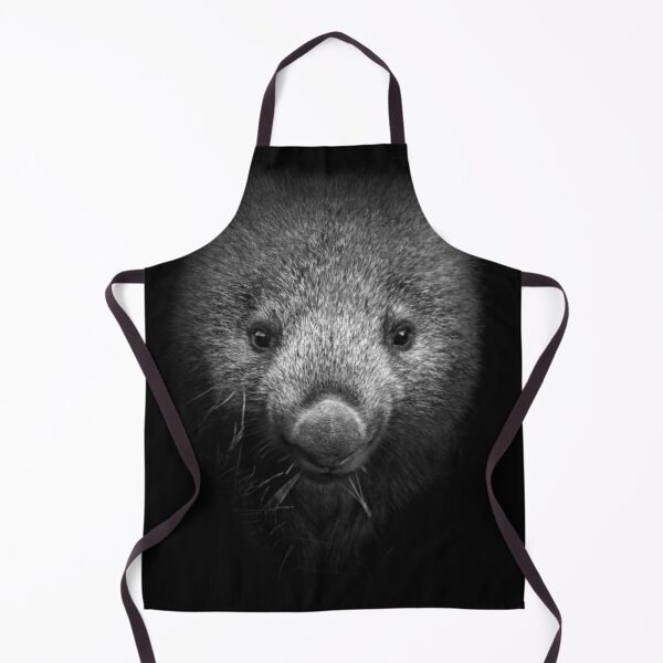 Wombat black and white portrait Apron