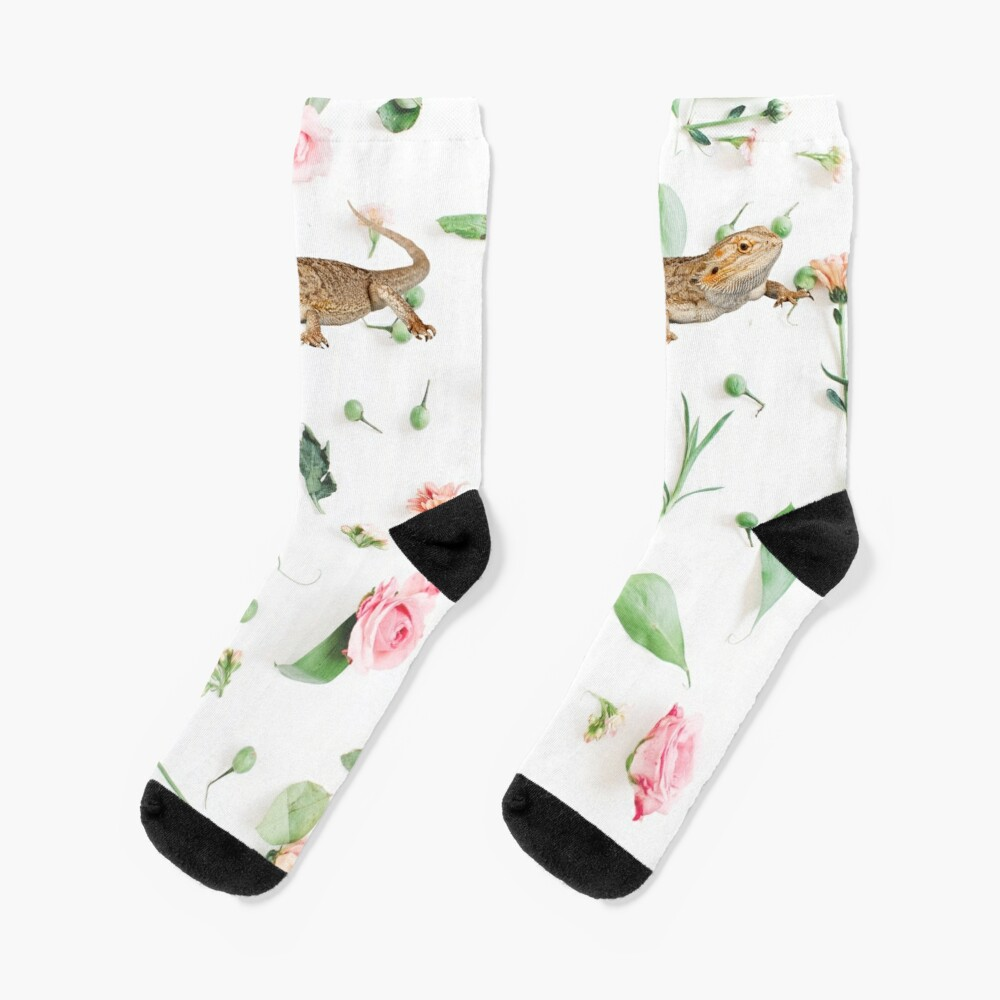 Bearded Dragon On A Carnation Background Socks