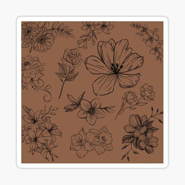 Black Floral Sticker