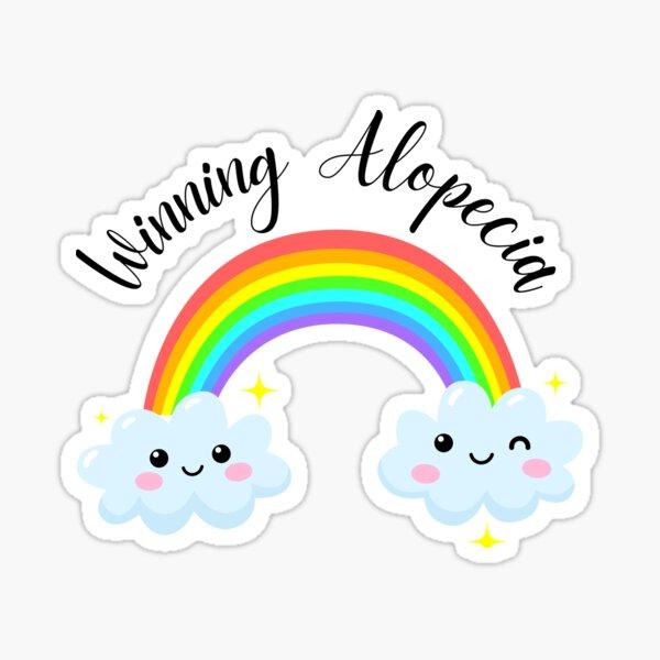 Alopecia and Hair Loss Motivation Cute Kawaii Rainbow Smileys Sticker