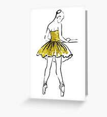 vector sketch of girls ballerina standing. gold texture Greeting Card