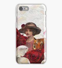 Vintage Woman Tiger Roses  iPhone Case/Skin