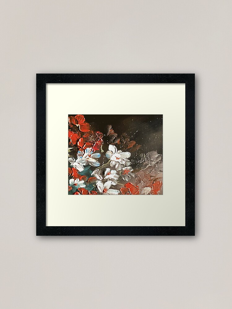Alternate view of Abstract Red and White Flower Floral Bouquet Oil Painting Design Framed Art Print