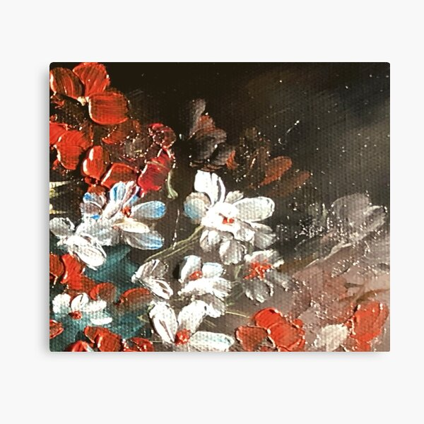 Abstract Red and White Flower Floral Bouquet Oil Painting Design Canvas Print
