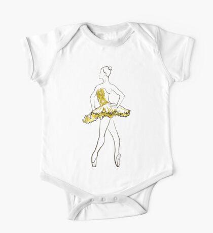 Vektorskizze der Mädchenballerina-Stellung. Gold Textur Kindermode