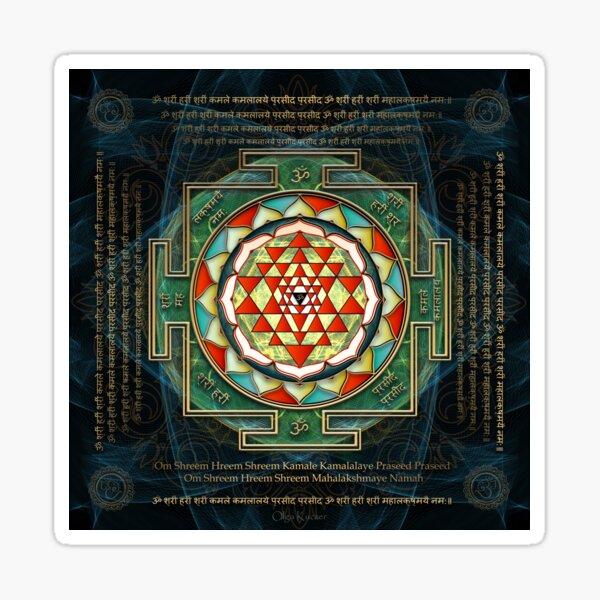 Maha Lakshmi (Laxmi) Mantra & Shri Yantra - Wealth Giving Sticker