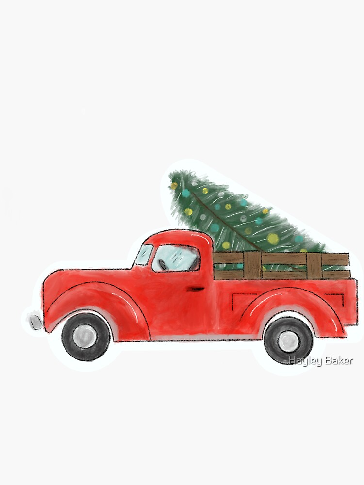 Red Christmas Tree Truck by Isolation-Art