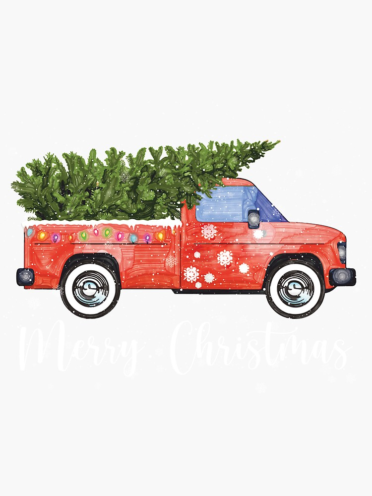 Vintage Wagon Red Truck Christmas Tree Pajama by Teejamson