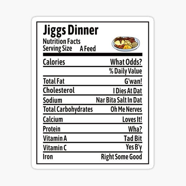 Jiggs Dinner Nutrition Facts Sticker