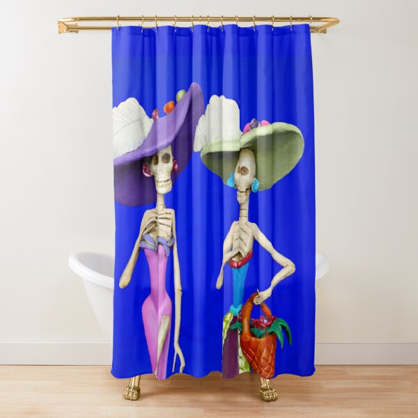 Two Elegant Catrinas on a Blue Background Shower Curtain