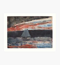 Winslow Homer, Schooner at Sunset Art Print