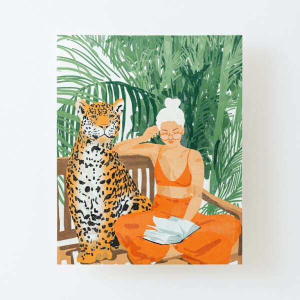 Jungle Vacay, Tropical Nature Painting, Woman & Wildlife, Tiger Cheetah Palms Illustration, Wild Cat Blonde Fashion Canvas Mounted Print