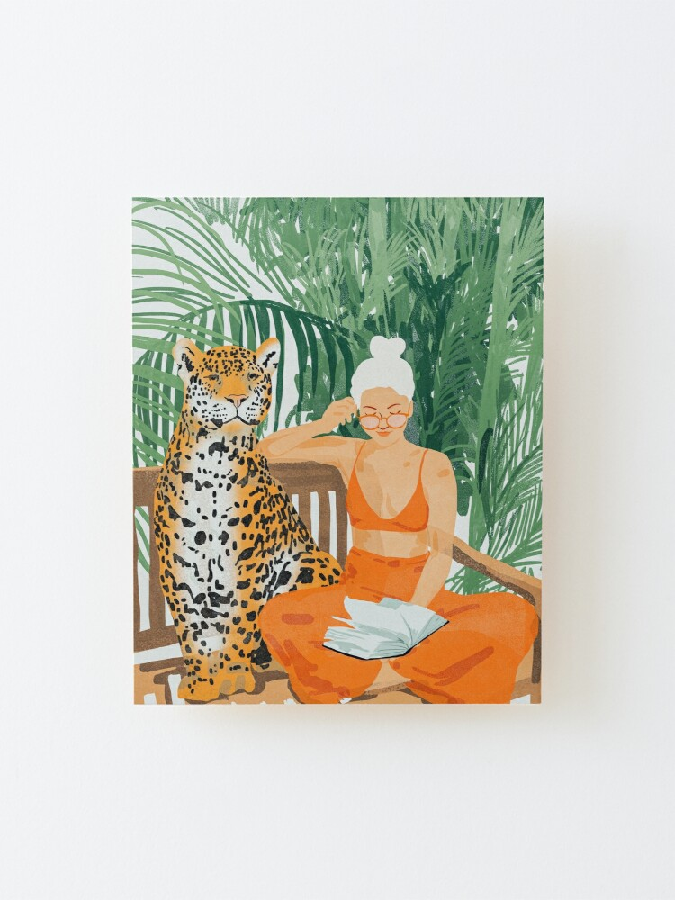 Alternate view of Jungle Vacay, Tropical Nature Painting, Woman & Wildlife, Tiger Cheetah Palms Illustration, Wild Cat Blonde Fashion Mounted Print