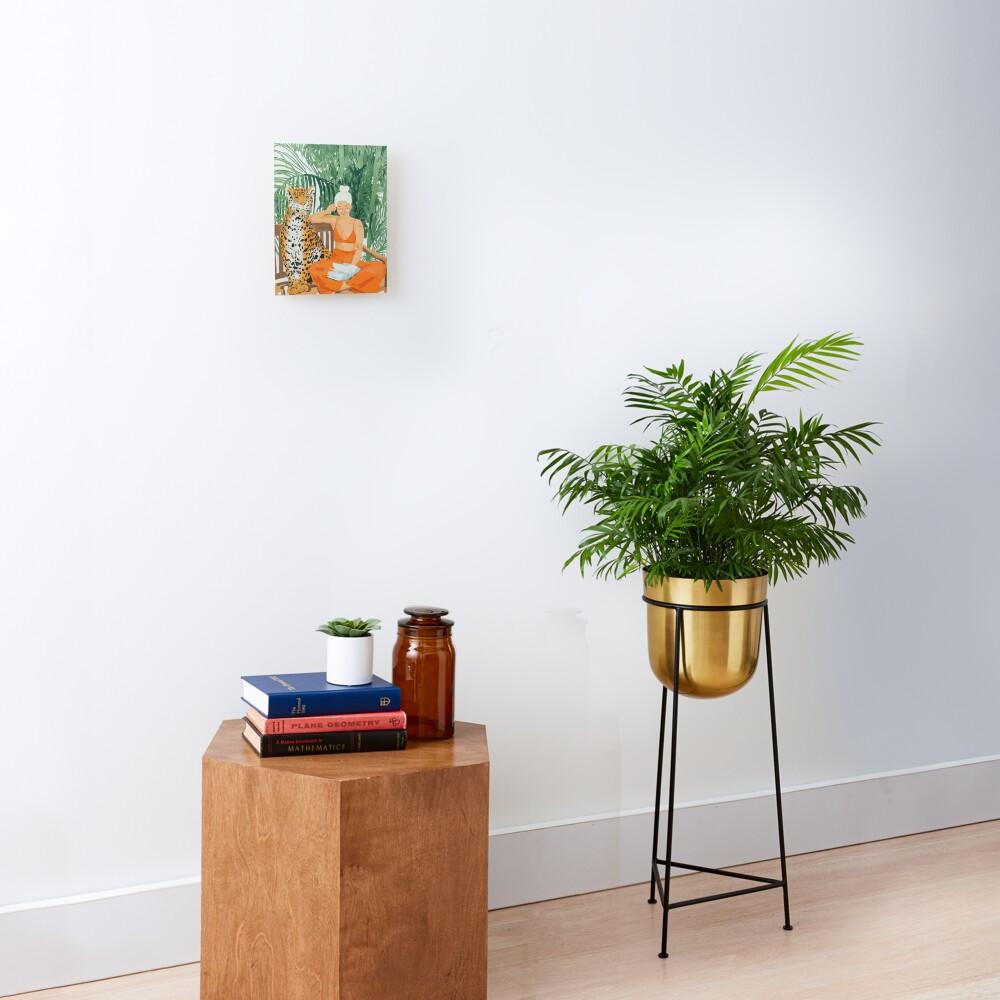 Jungle Vacay, Tropical Nature Painting, Woman & Wildlife, Tiger Cheetah Palms Illustration, Wild Cat Blonde Fashion Mounted Print