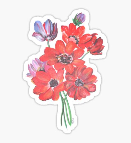 A Posy Of Wild Red And Lilac Anemone Coronaria Isolated  Sticker