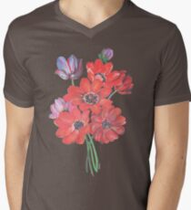 A Posy Of Wild Red And Lilac Anemone Coronaria Isolated  T-Shirt