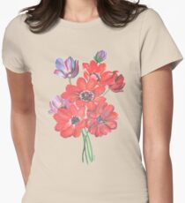 A Posy Of Wild Red And Lilac Anemone Coronaria Isolated  Women's Fitted T-Shirt