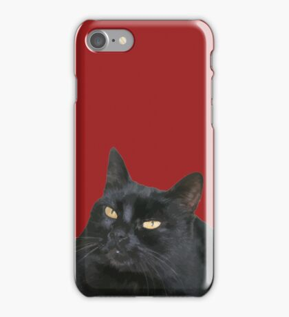 Relaxed Black Cat Portrait Vector Isolated iPhone Case/Skin