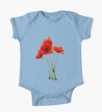 Delicate Red Poppies Vector One Piece - Short Sleeve