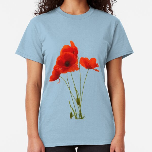 Delicate Red Poppies Floral Artistic Tribute Classic T-Shirt