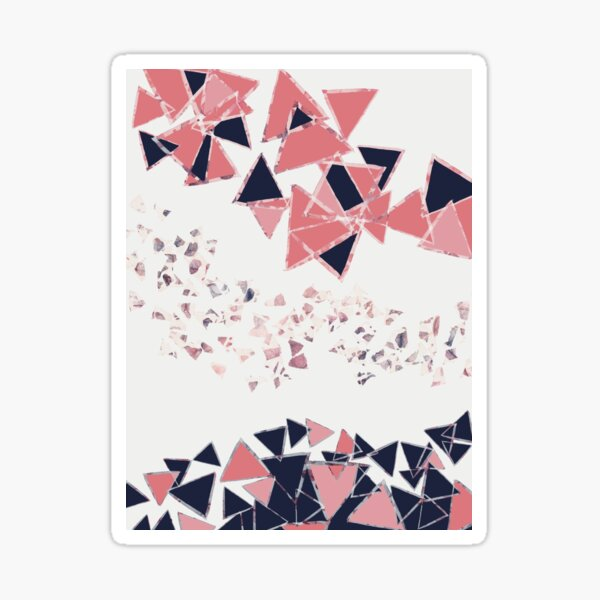 Pink and Navy Retro Triangles Sticker