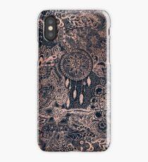 Modern rose gold blue dreamcatcher floral pattern  iPhone Case