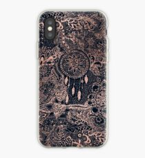 Modern rose gold blue dreamcatcher floral pattern  iPhone Case