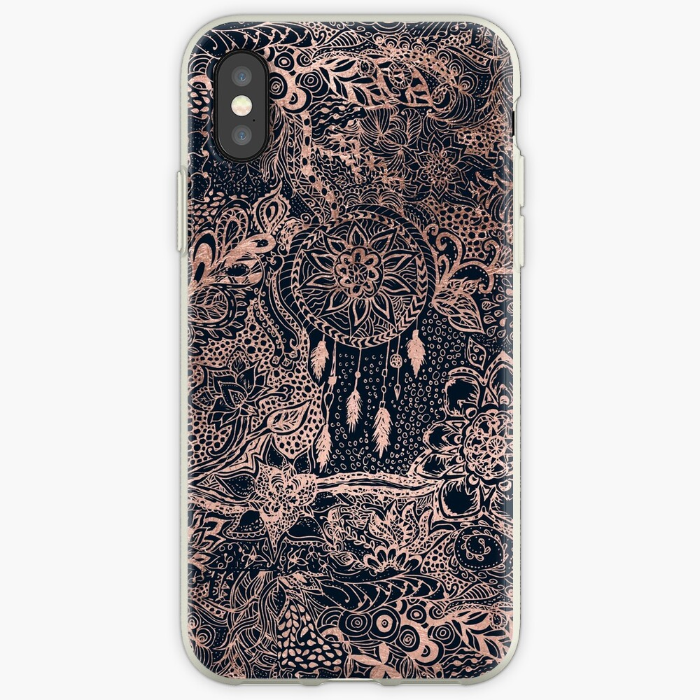 Modern rose gold blue dreamcatcher floral pattern  iPhone Case & Cover