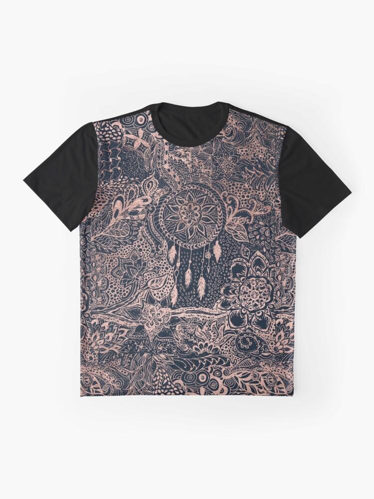 Alternate view of Modern rose gold blue dreamcatcher floral pattern  Graphic T-Shirt
