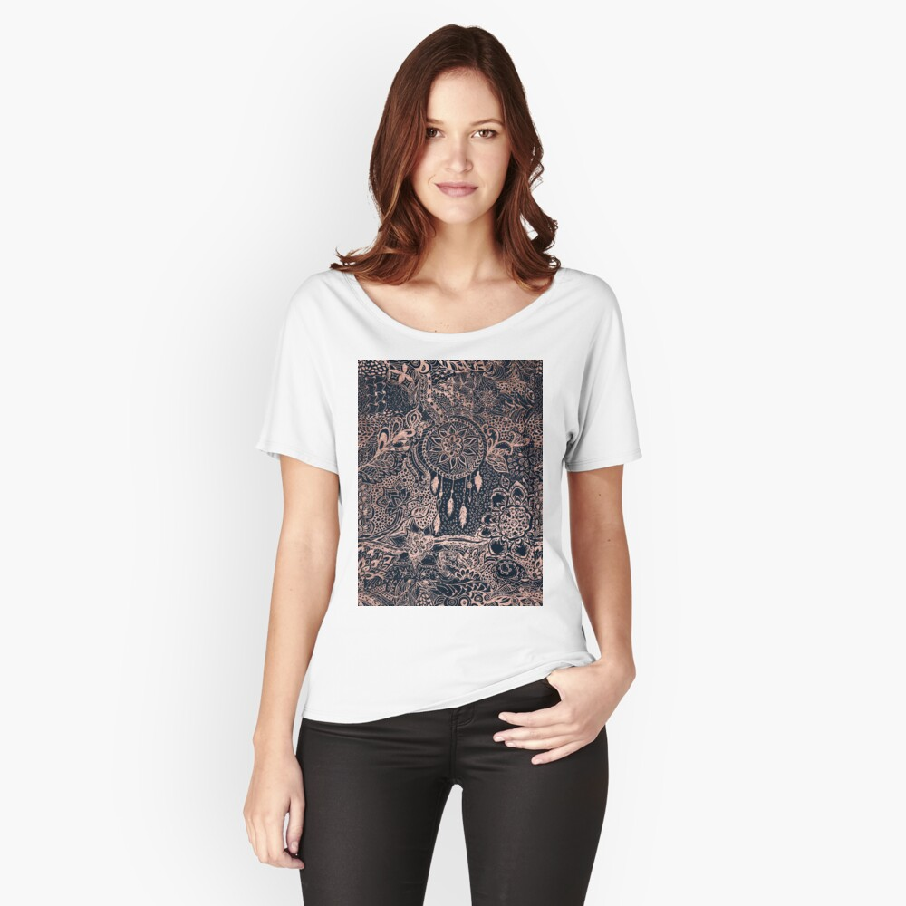 Modern rose gold blue dreamcatcher floral pattern  Relaxed Fit T-Shirt
