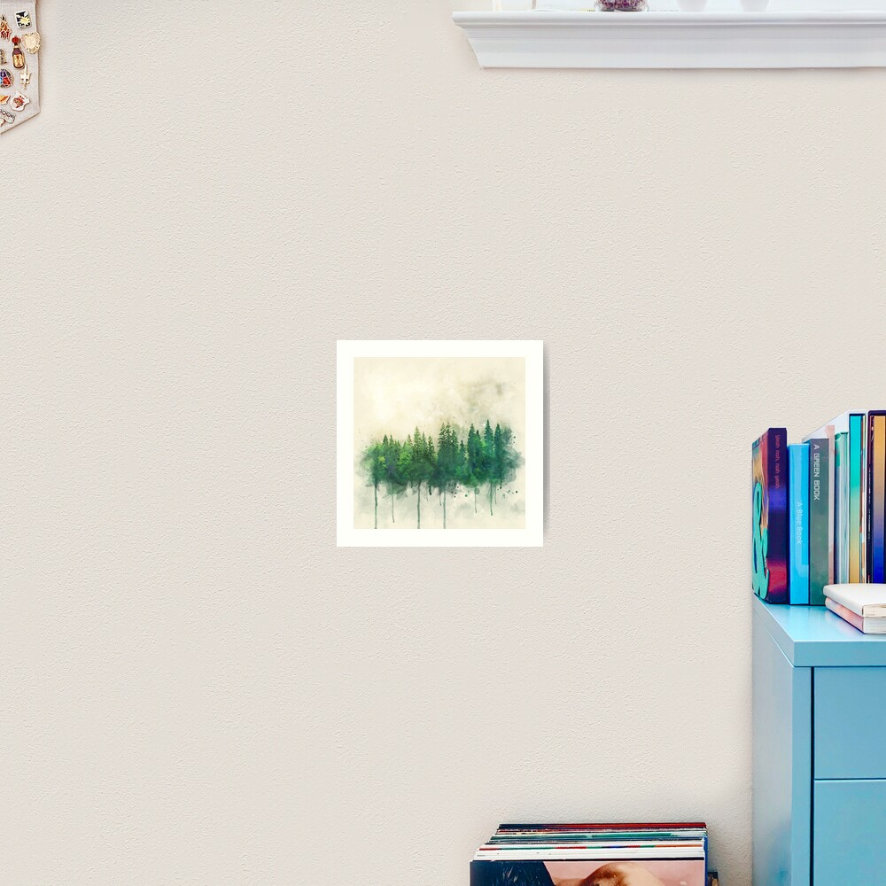 green forest watercolor painting Art Print