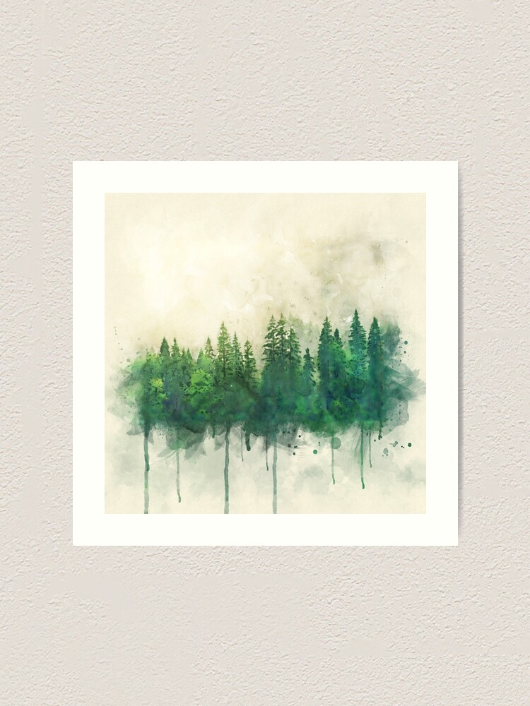 Alternate view of green forest watercolor painting Art Print