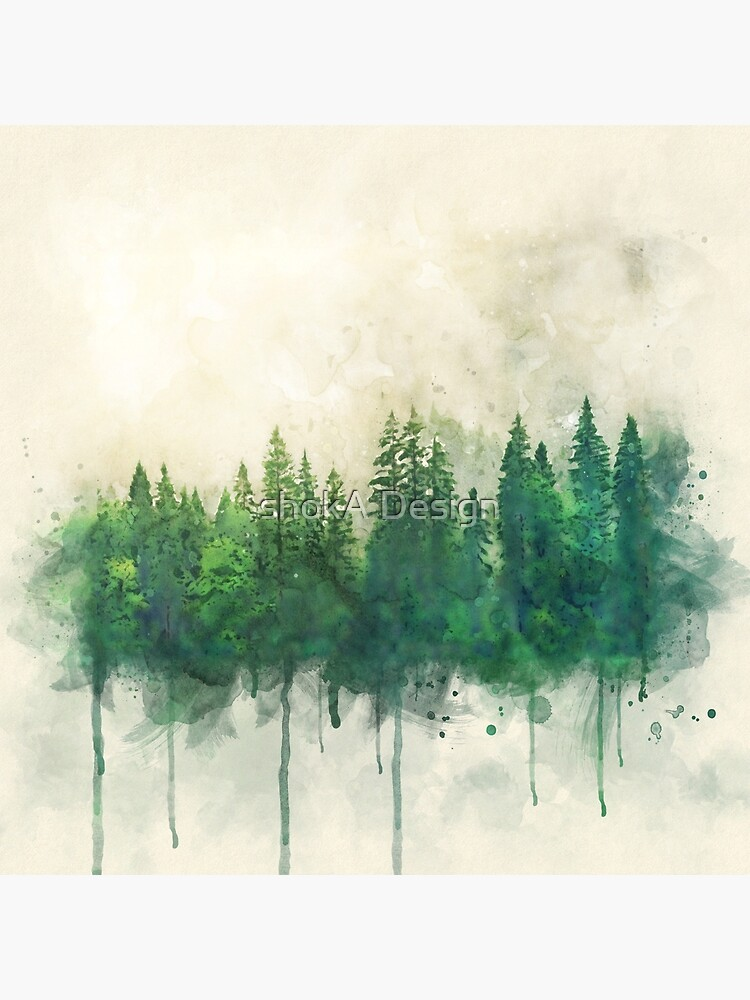 green forest watercolor painting by Ashokanim111