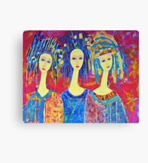 Women Girls Ladies Decorative Colorful Pink painting Canvas Print
