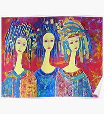 Women Girls Ladies Decorative Colorful Pink painting Poster