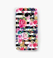 Cute spring floral and stripes watercolor pattern Samsung Galaxy Case/Skin