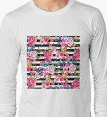 Cute spring floral and stripes watercolor pattern Long Sleeve T-Shirt