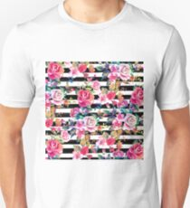 Cute spring floral and stripes watercolor pattern T-Shirt