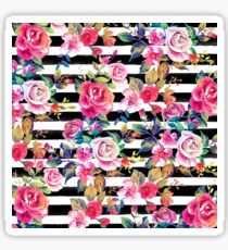 Cute spring floral and stripes watercolor pattern Sticker