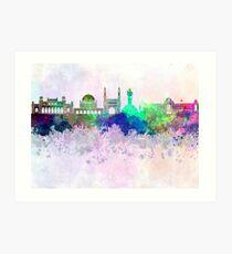 Hyderabad skyline in watercolor background Art Print