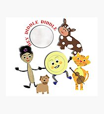 Hey Diddle Diddle Kids Nursery Rhyme Picture Photographic Print