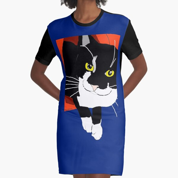 Cute Tuxedo Cat getting out of his igloo bed Graphic T-Shirt Dress